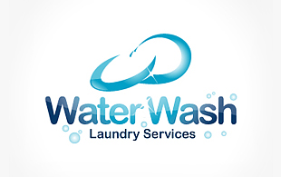 Water Wash Laundry Services Cleaning & Maintenance Service Logo Design