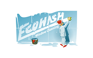 Ecowash Window Cleaning Cleaning & Maintenance Service Logo Design