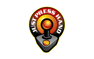 Just Press hand Computer & Mobile Games Logo Design