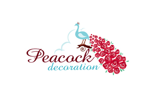 Peacock Decoration Floral & Decor Logo Design