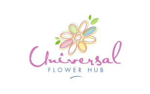 Universal Flower Hub Floral & Decor Logo Design