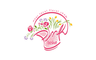 Pink Basket Floral & Decor Logo Design