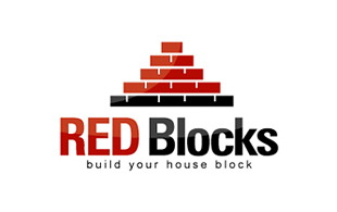 Red Blocks Real Estate & Construction Logo Design